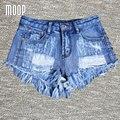 Topos das culturas de verão sexy shorts jeans mulheres rebite borla calções quentes pantalones cortos mujer LT467 bermuda feminina frete grátis