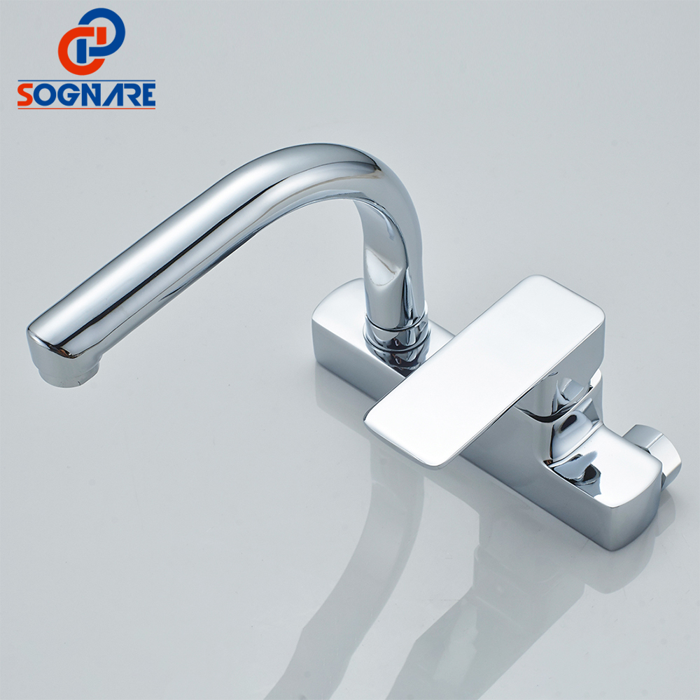 SOGNARE Wall Mounted Kitchen Faucet Single Handle Kitchen Mixer Taps ...
