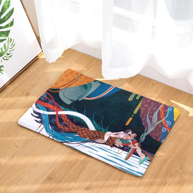 Flannel Floor Mats Myth Printed Bedroom Living Room Carpets Cartoon Pattern  Mat for Hallway Anti-Slip Tapete - us902 08433f9eb376