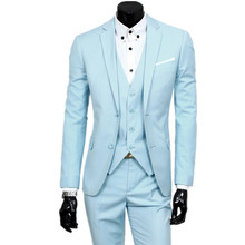 suit + jacket + pants 3 pieces sets / 2017 fashion men leisure business suits / Man's blazers jacket coat + trousers + waistcoat