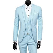 suit + jacket pants 3 pieces sets / 2017 fashion men leisure business suits Mans blazers coat trousers waistcoat
