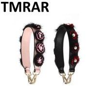 New 2018 Split Leather Flowers Mink Fur Handbag Short Belt With Pearl Trendy Bags Strap Bag