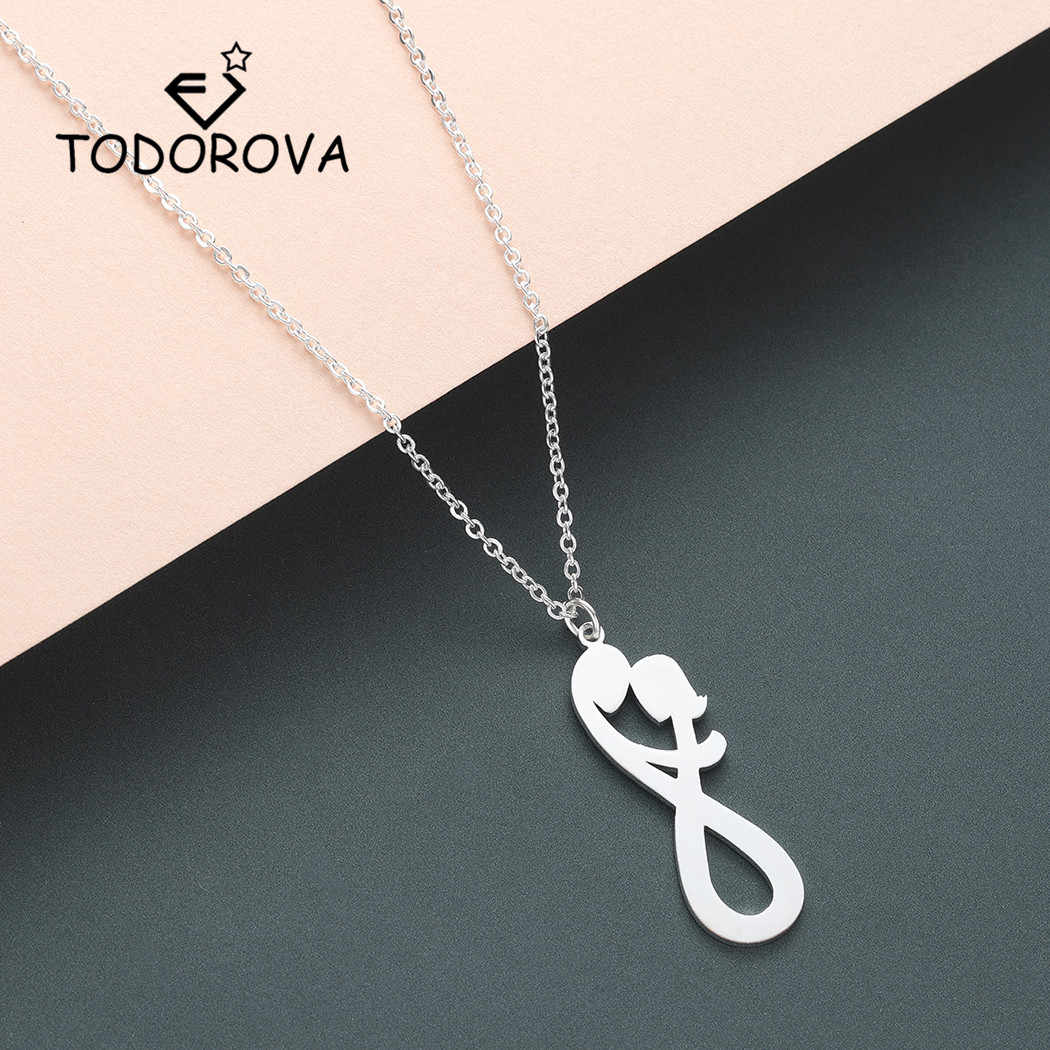 Todorova His and Her Initial Women Necklace Infinity Lover Pendant Neckalce Two Initial Men Necklace Valentines Day Gift