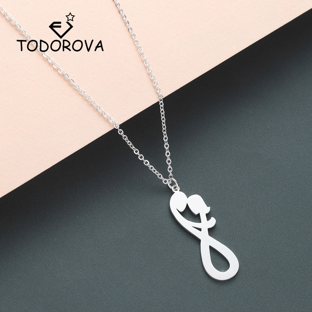 Todorova son et ses femmes initiales collier infini amant pendentif collier deux hommes initiaux collier saint valentin cadeau