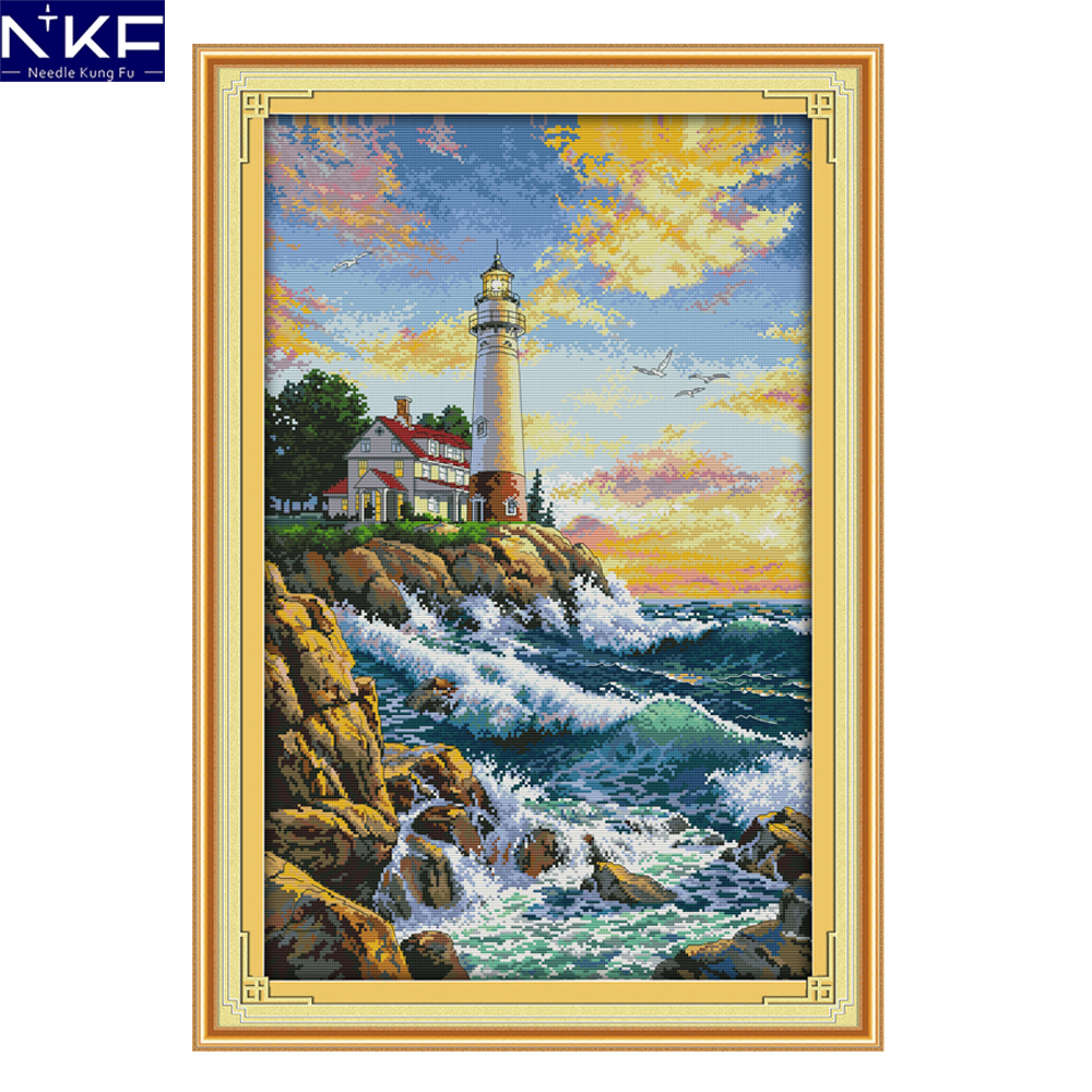 Needlepoint Christmas Stocking Kits.Us 13 69 57 Off Nkf The Lighthouse Scenery Style Needlepoint Christmas Stocking Kits Counted Cross Stitch Embroidery Designs For Home Decoration In