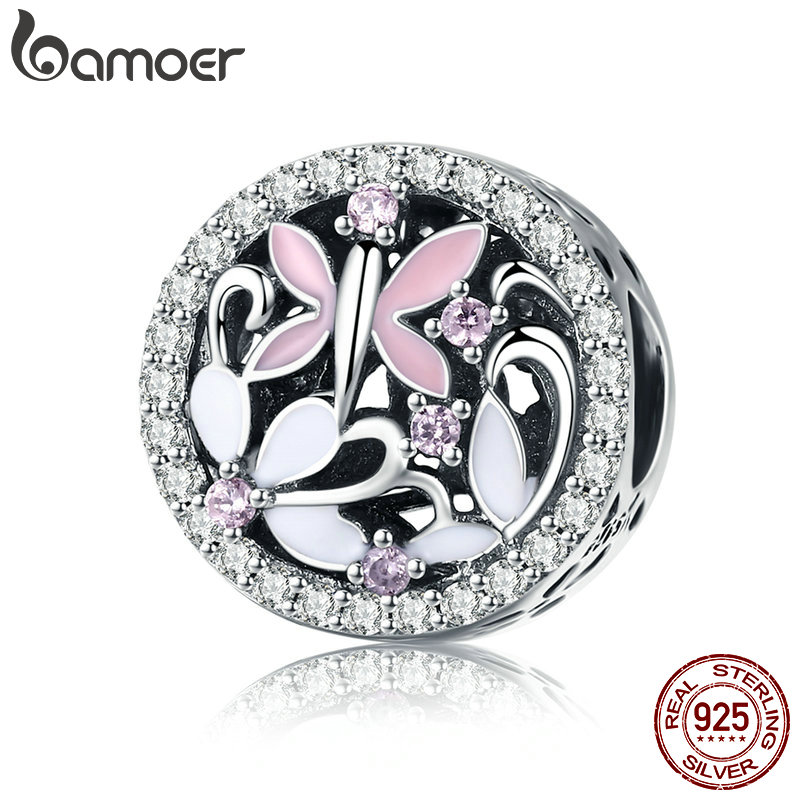 BAMOER Fashion 925 Sterling Silver Dragonfly Butterfly Clear CZ Charm Beads fit Charm Bracelets Necklaces DIY Jewelry SCC757 925 sterling silver sea turtle charm beads fit bracelets original animal turtle clear cz bead diy jewelry pas147