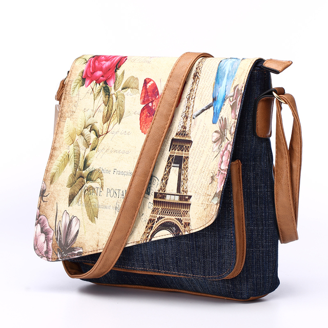 Women's Fashion Demin Crossbody Sling Bag Eiffel Tower Print Messenger Bag for Ladies Casual Shoulder Bag 1