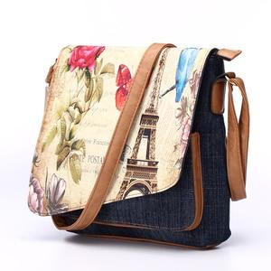 Image 2 - Annmouler sac à bandoulière Vintage pour femmes, sac à bandoulière Fashion Demin tour Eiffel, sac à épaule imprimé, fourre tout pour dames décontracté