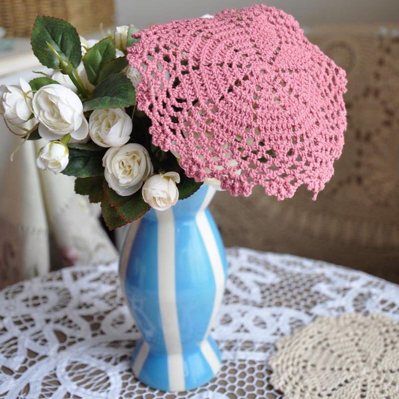 """4 шт./партия, """"(15 см), розовые Вязаные Салфетки, французский кантри, ручная работа, вязаный крючком кружевной коврик"""