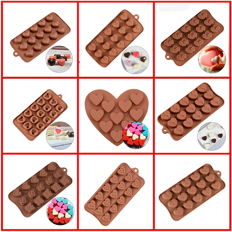 SILIKOLOVE Silicone Mold For Chocolate Baking Heart Silicone Cake Pastry Bakeware Form Pudding Jello Soap Mold Bread Candy Mold