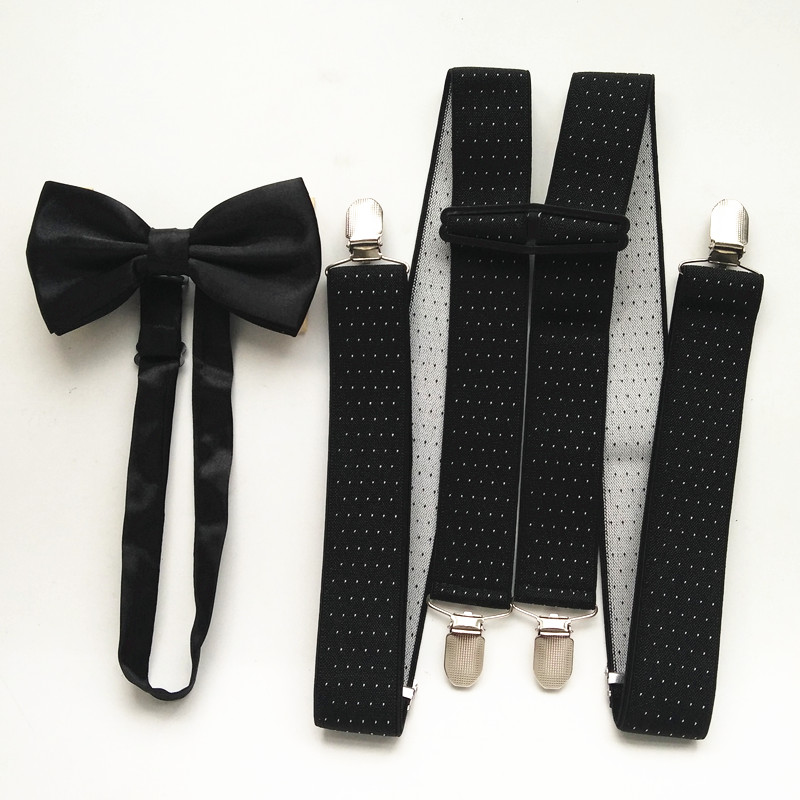 Dots Print Mens Supenders Bowtie Sets For Women High Elastic Strap H Shape Suspender Neck Tie Set For Adult Boys LB066