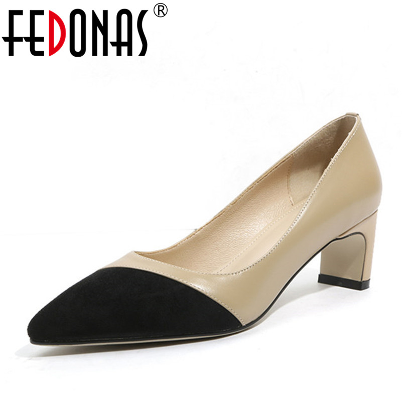 FEDONAS Women Pointed Toe High Heels Fashion Sexy Genuine Leather Shoes Woman Pumps Business Working Pumps Sexy Patchwork Shoes ldhzxc women mary janes pumps sexy pointed toe gladiator high heels shoes woman blue genuine leather stilettos shoes woman pumps