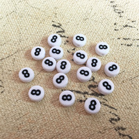 Free Shipping Wholesale 4 7MM Plastic Round Number Beads White With Black 8 Printing Acrylic Jewelry