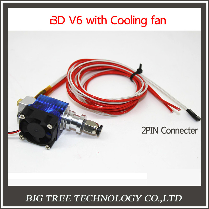 3D V6 3D Print J-head hotend Single Cooling Fan for 1.75mm/3mm Bowden Filament Wade Extruder 0.3/0.4/0.5mm Nozzle Lower price 3d printer all metal j head hotend with cooling fan ptfe tubing for 1 75 3 0mm v6 bowden wade extruder 0 2 1 0mm nozzle