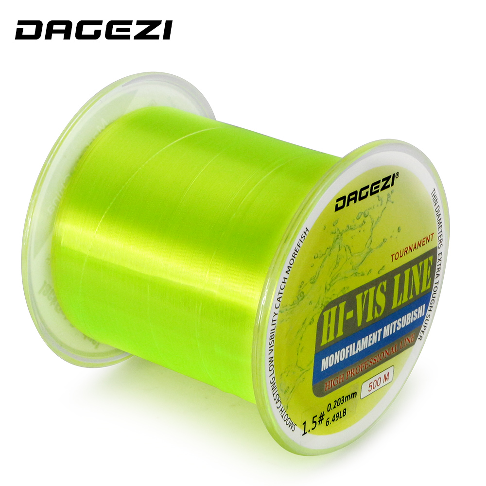 Dagezi new 500m hi vis monofilament fishing line 5 30lb for Fishing line test