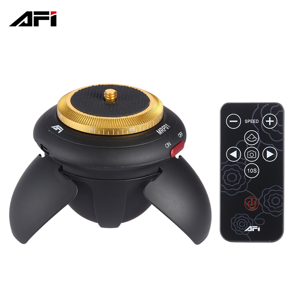 AFI MRP01 Mini Electric Panorama Head 360 Rotation Time Lapse Tripod Head for Go Pro Action Camera Selfie Stick Smartphones