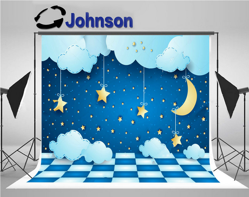 fairy lights surreal night half moon star clouds floor backdrops Vinyl cloth Computer print children kids backgrounds