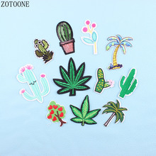 ZOTONE Cactus Letter Plant Patch Sewing Sequin Patches For Clothing Iron Embroidered Stickers for Clothes Diy Applique Jeans