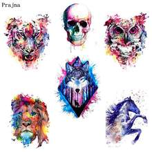 Prajna Punk Style Iron-On Transfer Skull Tiger Lion Stickers On Clothes Ironing Heat Summer Clothing Applique