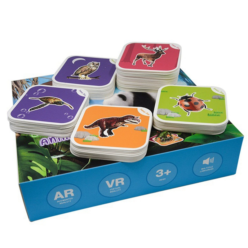 68Pcs Magic Flashcards AR Animals Early Childhood Memory Matching Learning Toys Educational Game Cards 13 Switchable Language