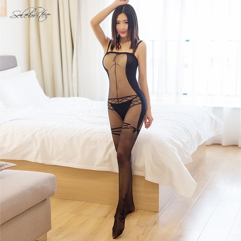 Buy Selebritee Womens Bodysuits Sheer Bodystocking Transparent Teddies Body Stockings Sleeveless Sexy Hot Lingerie Underwear Tights