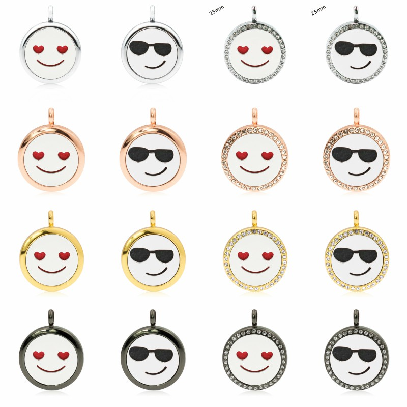 25mm Magnetic Face Expression Plain and Crystal rhinestone Essential Oil Diffuser Locket Pendant Perfume Aroma Pendant 1pc pad