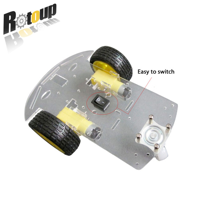 Rotoup 2WD Smart Robot Chassis Kits Motor Car Avoidance Robot Platform Wheels 1:48 Speed Encode Battery Box For Arduino #RBP008