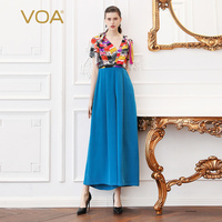 VOA Silk Jumpsuits High Waist Tunic Women Jumpsuit Elegant Print Plus Size 5XL Basic Summer Casual Boho Short Sleeve K525