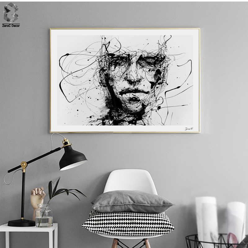 Nordic Style Canvas Art Posters and Prints Painting, Black White Line Portrait Wall Pictures for Home Decoration, Wall Decor