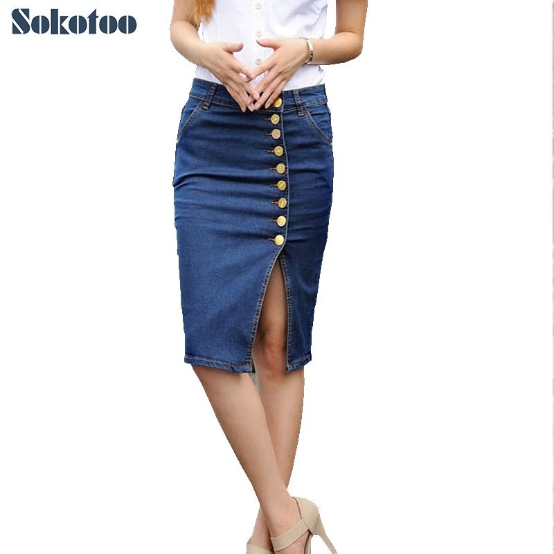 Mulheres mais botões de tamanho grande pacote de hip saia Lady joelho lápis saia jeans frete grátis
