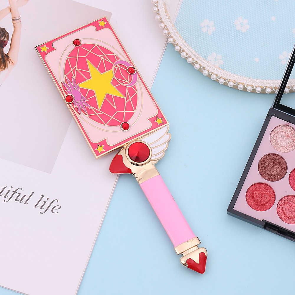 Большой металлический ручной Макияж Зеркало квадратная сумка ручной аниме Cardcaptor Сакура карта с футбольной звездой Косметическая одежда милое розовое зеркало