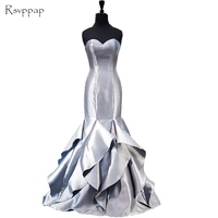 Real Picture Long Evening Dress 2018 Mermaid Sweetheart African Beautiful Silver Satin Women Formal Evening Gowns