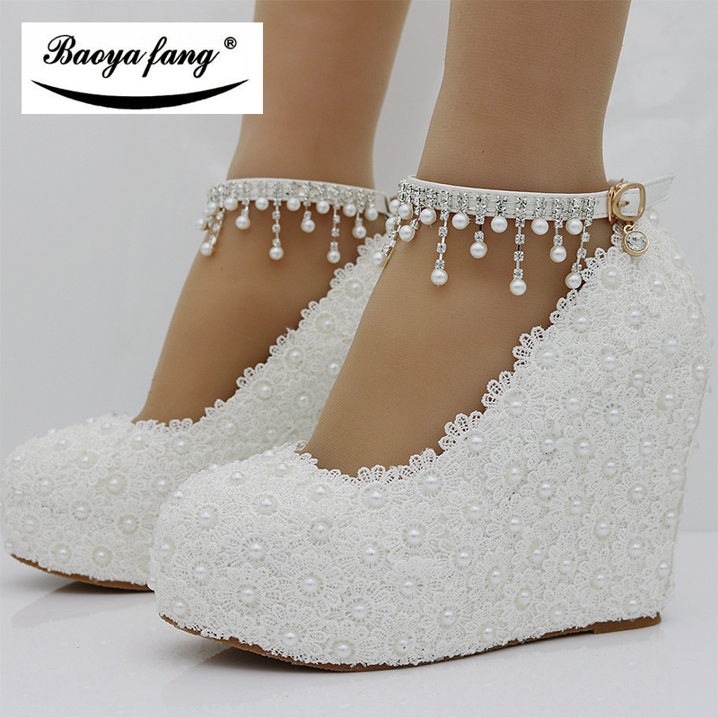 BaoYaFang New Wedges White/pink Lace-up Wedding shoes woman 11cm High heels shoes Bridesmaid fashion ankle strap Womens Pumps baoyafang new arrival white pearl tessal womens wedding shoes high heels platform shoes real leather insole high pumps female