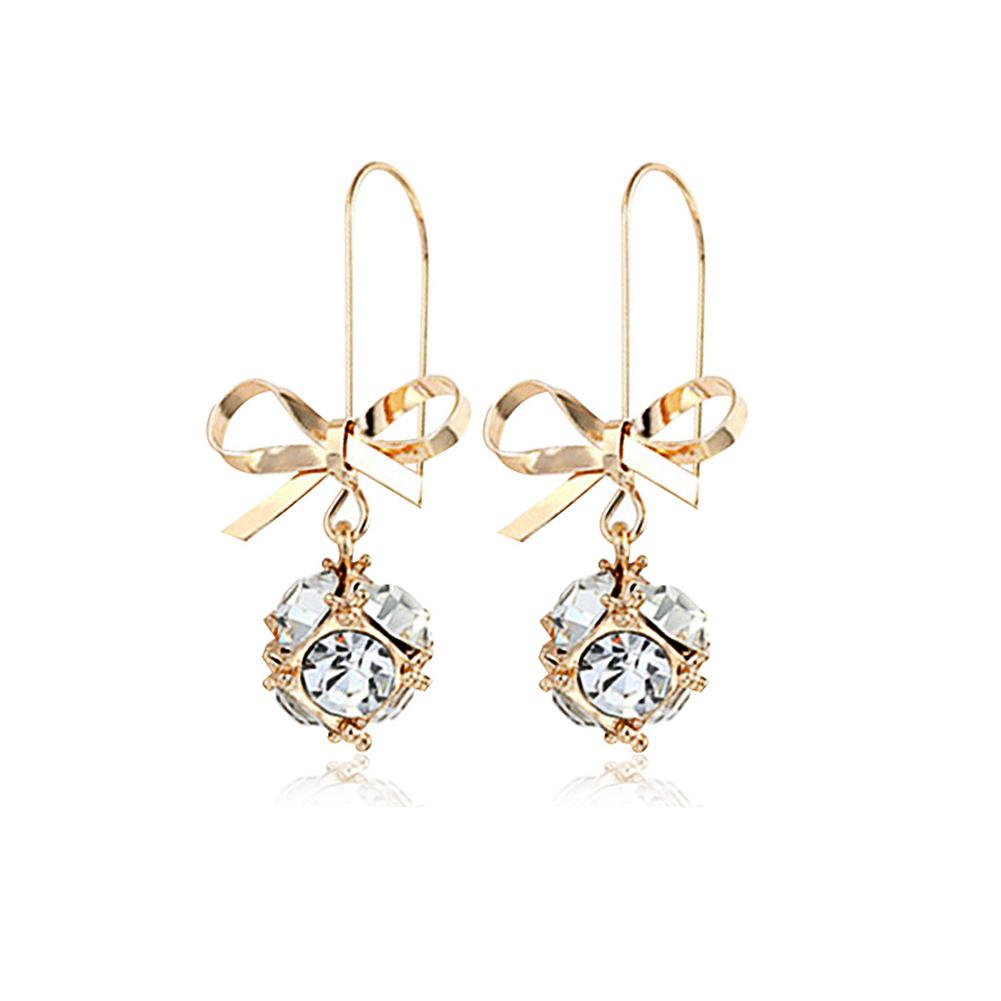 Jewelry & Accessories Inventive Fashion Women Bow Shiny Rhinestones Ball Dangle Hook Earrings Party Jewelry Gift Ideal Gift For All Occasions Stud Earrings