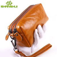 Genuine Leather Women Small Wallet Double Zippers Oil Wax Leather Coin Purse Credit Card Holder With Wrist Strap Handbag Purse