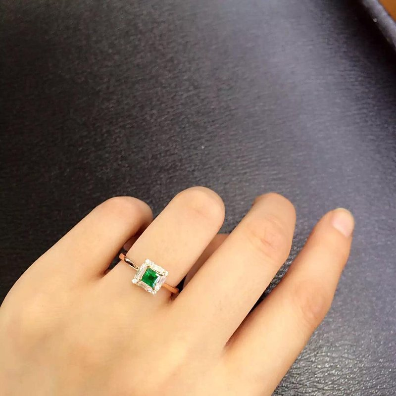 2017 New Real Anillos Qi Xuan_fine Jewelry_natural Emeralds Stones Fashion Rings_plated Rose Woman Rings_factory Directly Sales