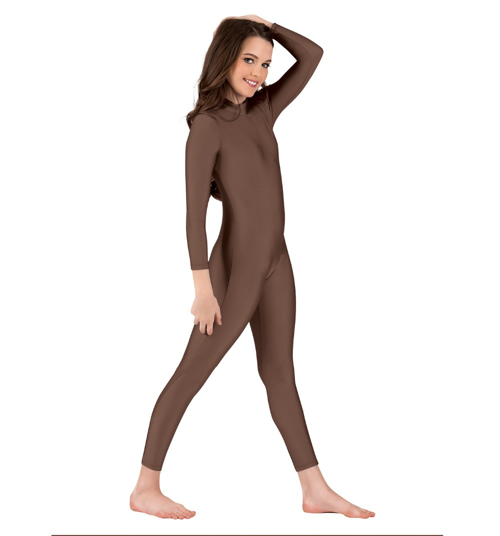 Child Lycra Spandex Mock Neck Long Sleeve Unitard Full Body Unitard Catsuit Turtleneck Dancewear Costumes For Performances