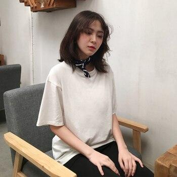 2018 Casual Sólidos Senhoras Preto Branco de Algodão Oversize T Shirt Mulheres Tshirt Plus Size Manga Curta O-pescoço DX612 1