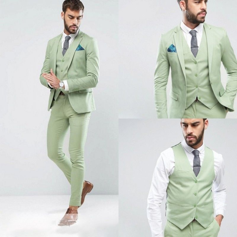 Custom Made One On Men S Fashion Wedding Suits Light Green 3pcs Tuxedos Formal Groom Jacket Pants Vest G514 In From Clothing