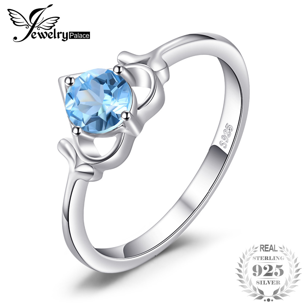 JewelryPalace Heart 0.5ct Genuine Blue Topaz Solitaire Ring Soild 925 Sterling Silver Fine Ring Classic Jewelry For Women Gift jewelrypalace classic wedding solitaire ring for women pure 925 sterling silver simple wedding jewelry fashion gift