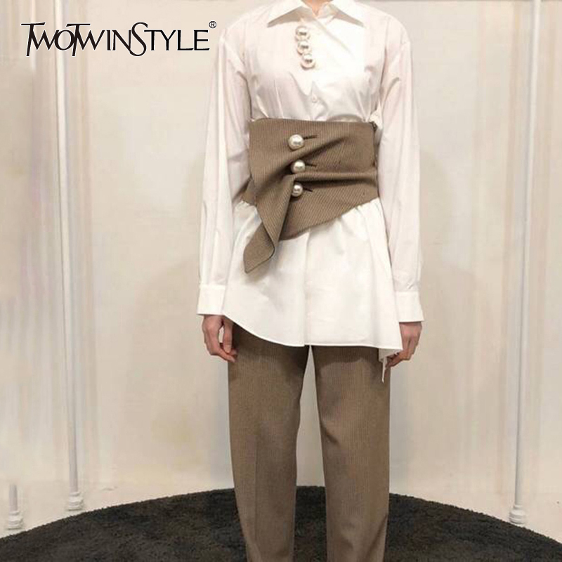 TWOTWINSTYLE Pearls Plaid Belt Womens Ruched Patchwork High Waist Irregular Cummerbunds Female 2020 Fashion Vintage Accessories