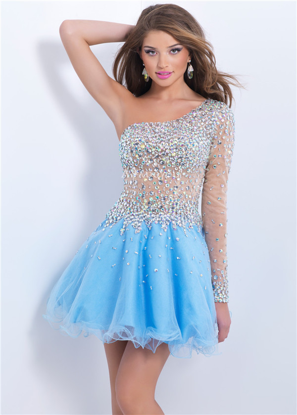 free shipping party gown one shoulder crystal vestido de festa robe de soiree sexy short Homecoming prom   bridesmaid     Dresses