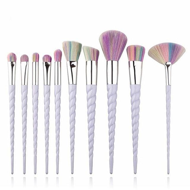 10 Pcs Professional Makeup Brush Set Unicorn Rainbow Diamond Face & Eye Powder Foundation Eyebrow Make Up Brush Kit Tools BBP 2