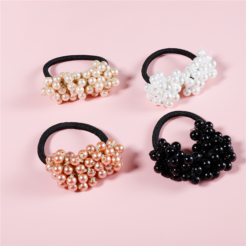 Newest Pearls Beads Headbands Ponytail Holder Scrunchies Vintage Elastic Hair Bands For Women Rubber Rope Girls Hair Accessories