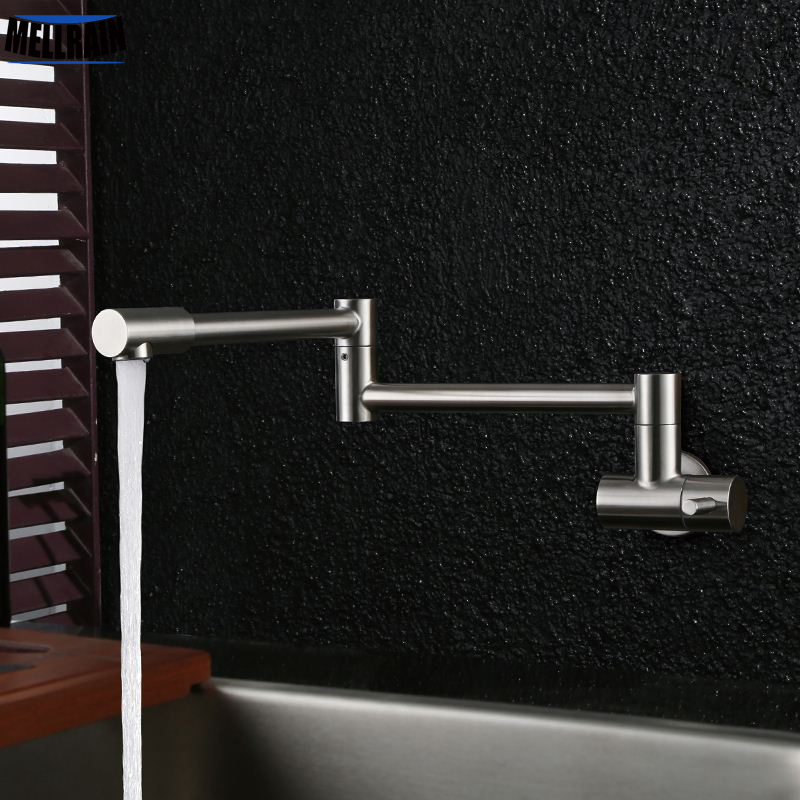 Free Rotation Single Cold Kitchen Faucet Foldable Sink Water Tap Stainless Steel Brushed Wall Mounted Free