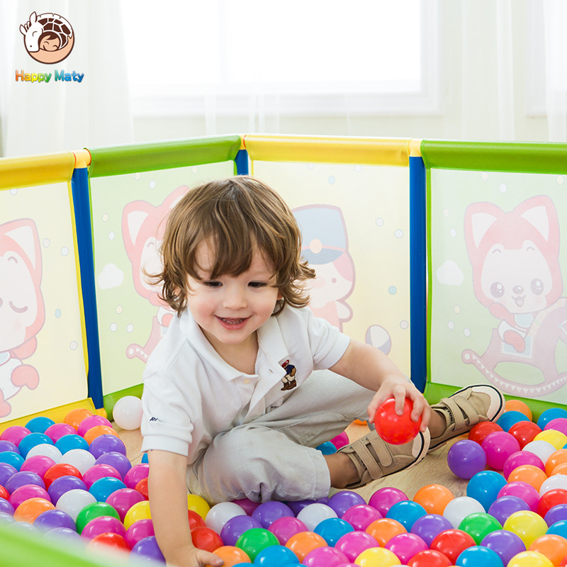 Happymat Baby Safety Fence Guard Folding Kids Playpen Game Playing Pit Marine Ball Pool Portable Children's Game Tent Baby Fence