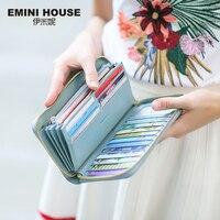 EMINI HOUSE RFID Large Capacity Women Wallet Genuine Leather Clutch Wallet Card Holder Organizer Ladies Purse Zipper Long Wallet