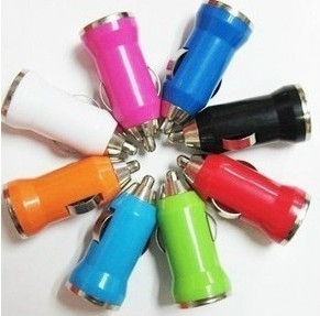 Colorful Mini USB Car Charger For IPhone 5 4 4G 3G for every mobile Auto Adapter bullet shape