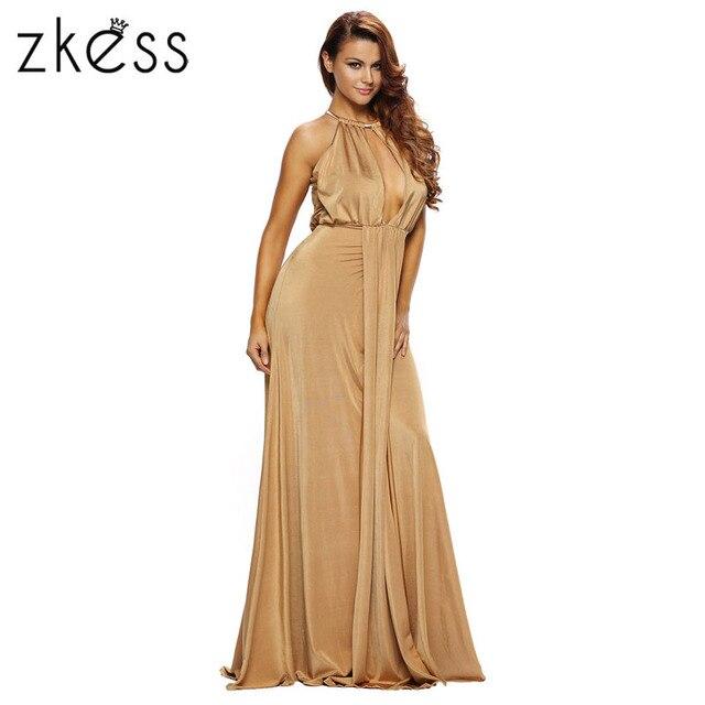 Zkess mujeres moda vestidos largos elegantes ocasionales Venta caliente  Camel Negro silky Jewel Halter Vestidos 80c322e74249