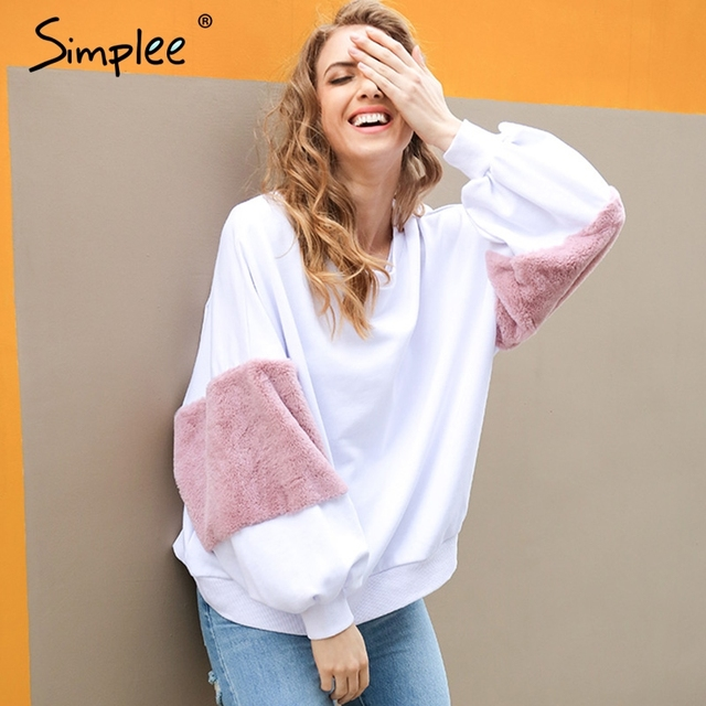 Simplee primavera Imitación Piel sudaderas con capucha sudadera Casual de gran tamaño sudadera blanca de las mujeres jersey de moda patchwork manga larga Jersey